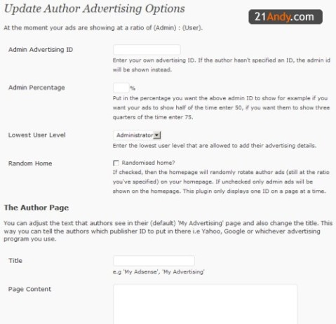 Author Advertising Plugin